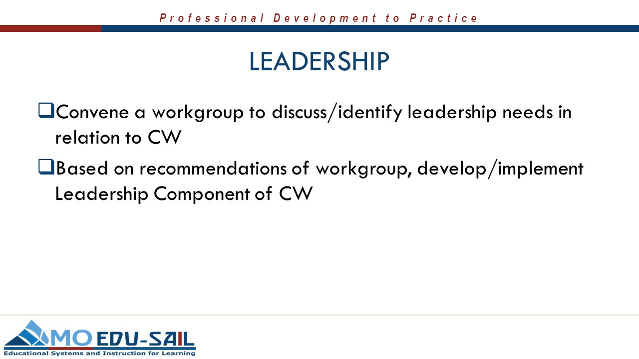 Professional Development to Practice LEADERSHIP  Convene a workgroup to discuss/identify leadership needs in relation to CW  Based on recommendations of workgroup, develop/implement Leadership Component of CW