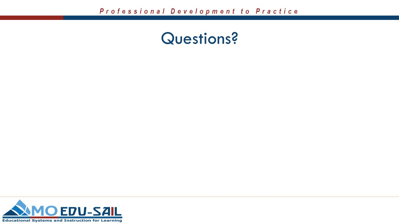 Professional Development to Practice Questions