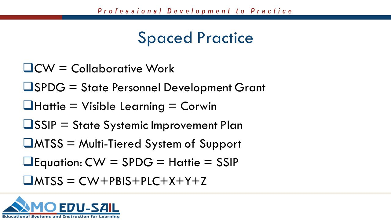 Professional Development to Practice Spaced Practice  CW = Collaborative Work  SPDG = State Personnel Development Grant  Hattie = Visible Learning