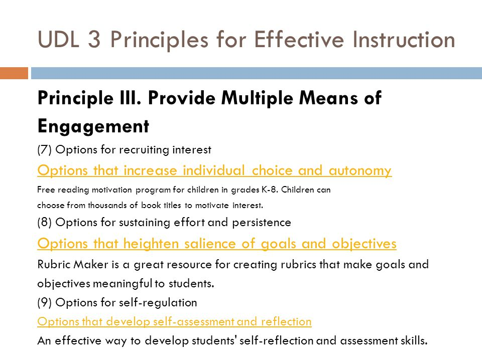 UDL 3 Principles for Effective Instruction Principle III.