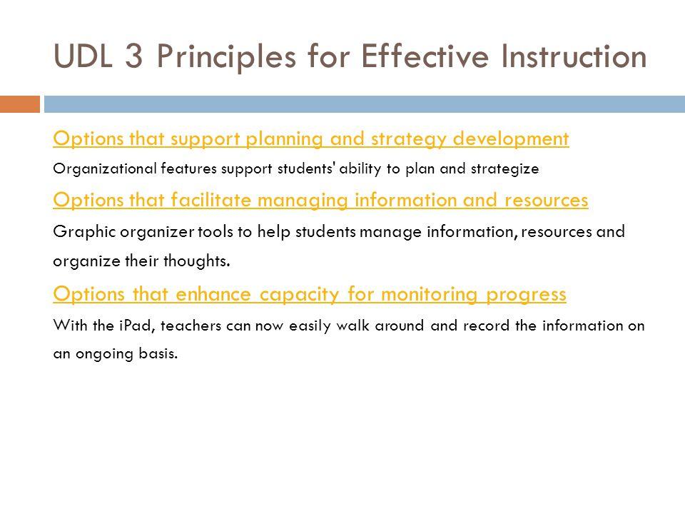 UDL 3 Principles for Effective Instruction Principle III.