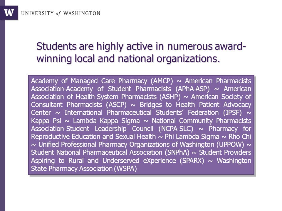 Students are highly active in numerous award- winning local and national organizations.