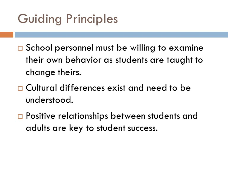 Guiding Principles  School personnel must be willing to examine their own behavior as students are taught to change theirs.  Cultural differences ex