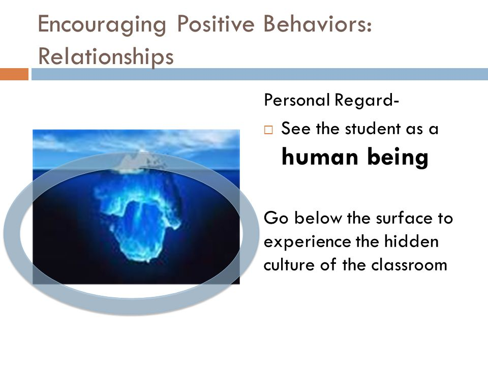 Encouraging Positive Behaviors: Relationships Personal Regard-  See the student as a human being Go below the surface to experience the hidden cultur