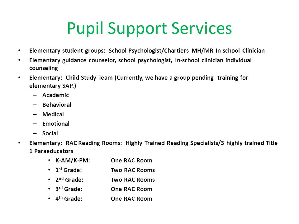 Pupil Support Services Elementary student groups: School Psychologist/Chartiers MH/MR In-school Clinician Elementary guidance counselor, school psycho