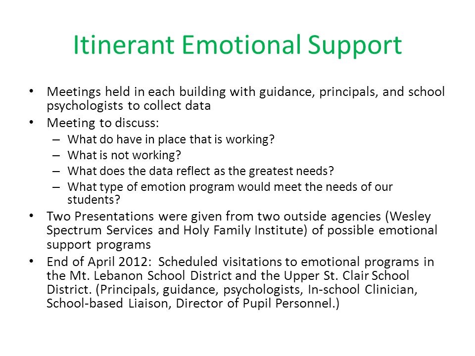 Itinerant Emotional Support Meetings held in each building with guidance, principals, and school psychologists to collect data Meeting to discuss: – W