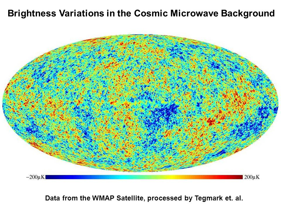 Brightness Variations in the Cosmic Microwave Background Data from the WMAP Satellite, processed by Tegmark et.
