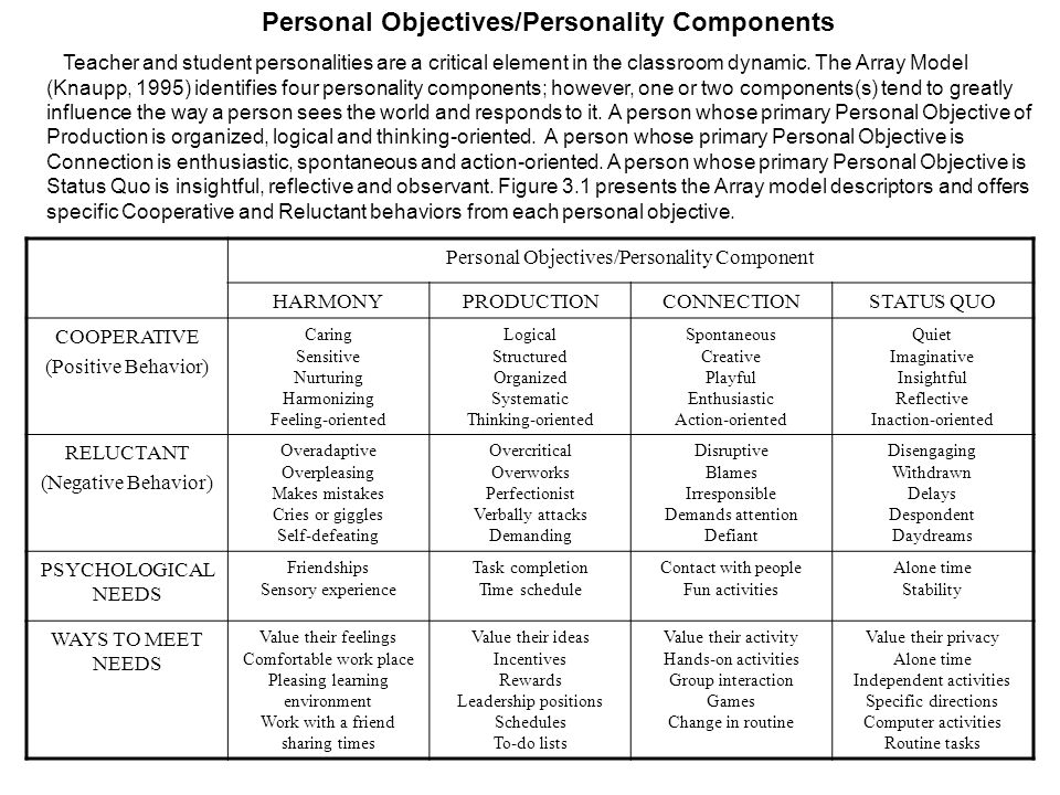 Personal Objectives/Personality Components Teacher and student personalities are a critical element in the classroom dynamic. The Array Model (Knaupp,