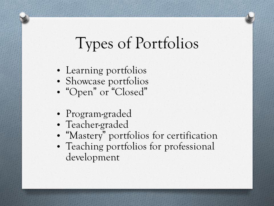 Why portfolios have many fans O Portfolio methods are flexible .
