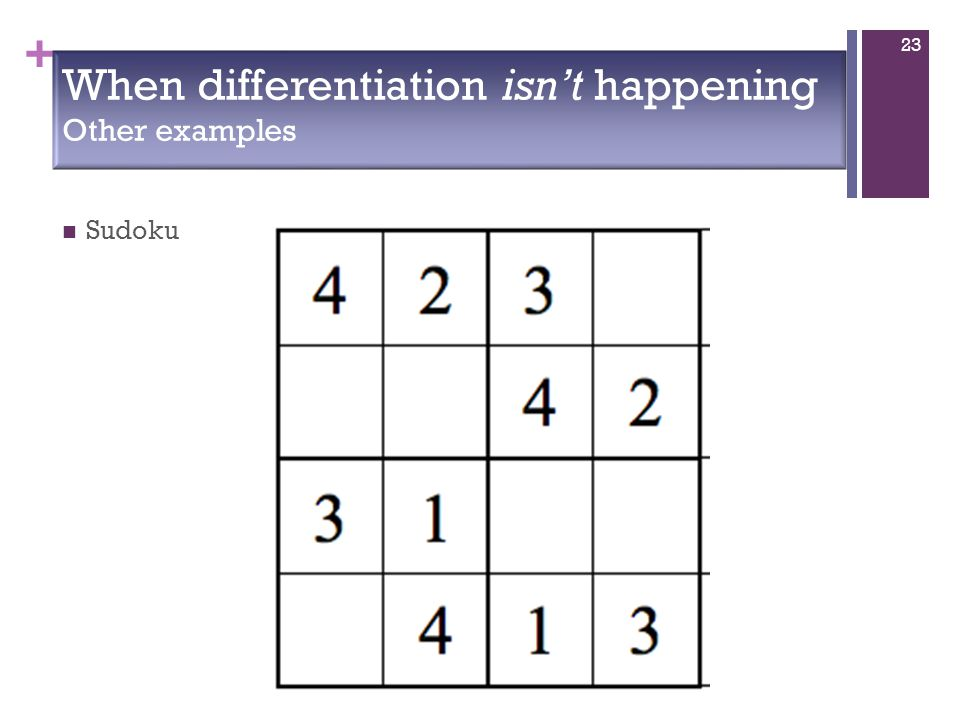 + When differentiation isn't happening Other examples Sudoku 23