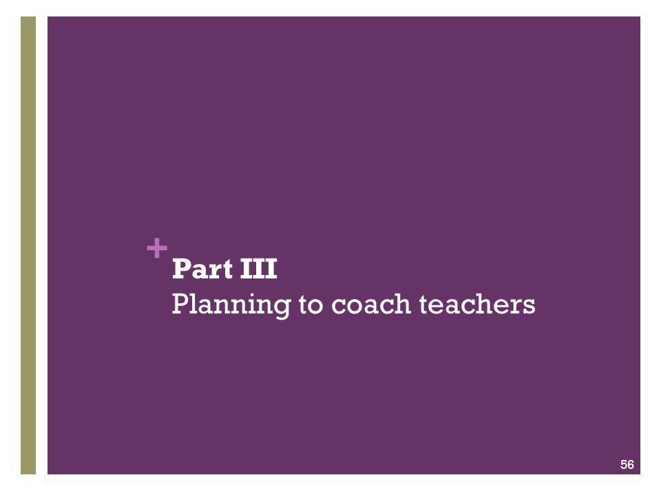+ Part III Planning to coach teachers 56