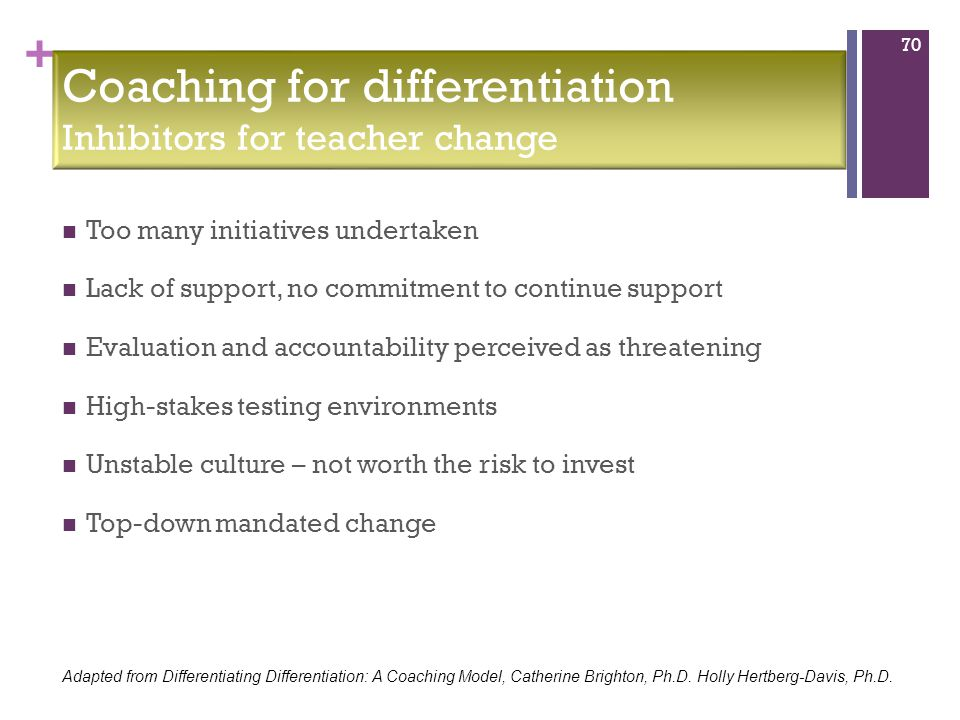 + Too many initiatives undertaken Lack of support, no commitment to continue support Evaluation and accountability perceived as threatening High-stakes testing environments Unstable culture – not worth the risk to invest Top-down mandated change 70 Coaching for differentiation Inhibitors for teacher change Adapted from Differentiating Differentiation: A Coaching Model, Catherine Brighton, Ph.D.