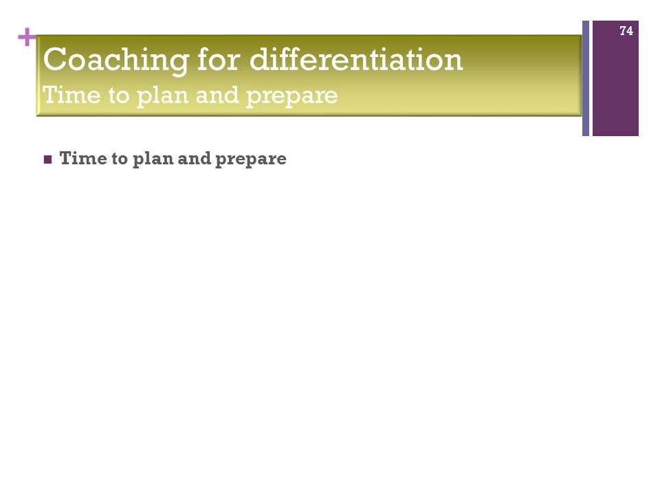 + Time to plan and prepare 74 Coaching for differentiation Time to plan and prepare