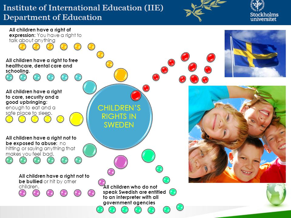 Click to edit Master title style Click to edit Master text styles – Second level Third level – Fourth level » Fifth level CHILDREN'S RIGHTS IN SWEDEN All children have a right of expression: You have a right to talk about anything All children have a right to free healthcare, dental care and schooling.