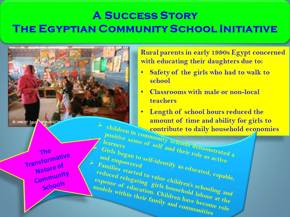 © UNICEF Egypt/Whitehill/2007 A Success Story The Egyptian Community School Initiative A Success Story The Egyptian Community School Initiative Rural parents in early 1990s Egypt concerned with educating their daughters due to: Safety of the girls who had to walk to school Classrooms with male or non-local teachers Length of school hours reduced the amount of time and ability for girls to contribute to daily household economies Rural parents in early 1990s Egypt concerned with educating their daughters due to: Safety of the girls who had to walk to school Classrooms with male or non-local teachers Length of school hours reduced the amount of time and ability for girls to contribute to daily household economies The Transformative Nature of Community Schools  children in community schools demonstrated a positive sense of self and their role as active learners  Girls began to self-identify as educated, capable, and empowered  Families started to value children's schooling and reduced relegating girls household labour at the expense of education.