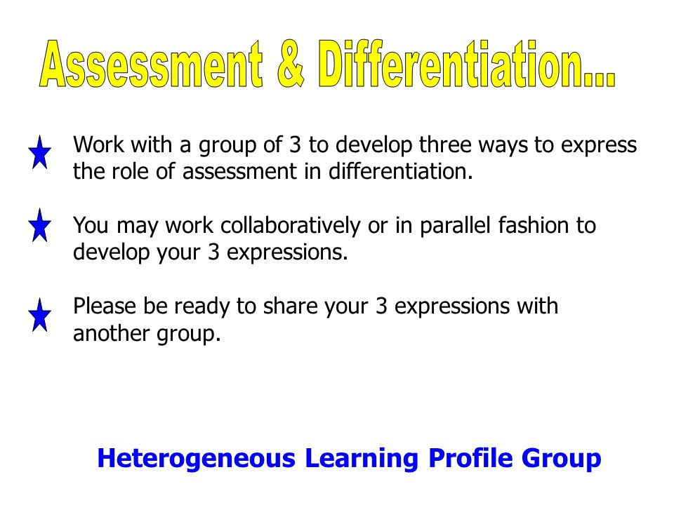 Work with a group of 3 to develop three ways to express the role of assessment in differentiation. You may work collaboratively or in parallel fashion