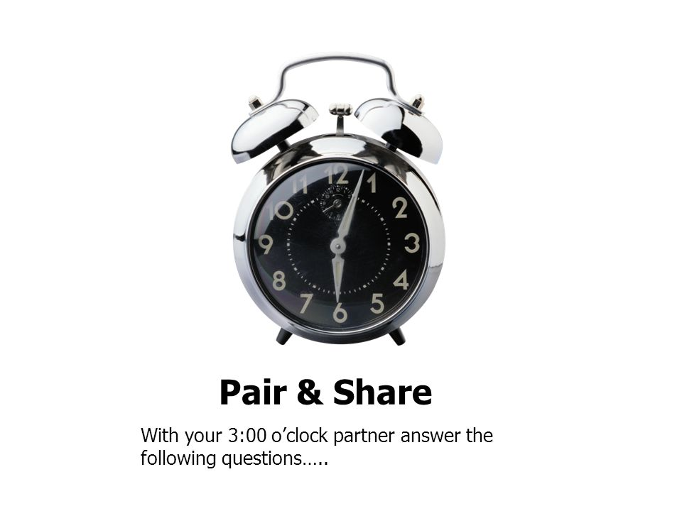 Pair & Share With your 3:00 o'clock partner answer the following questions…..