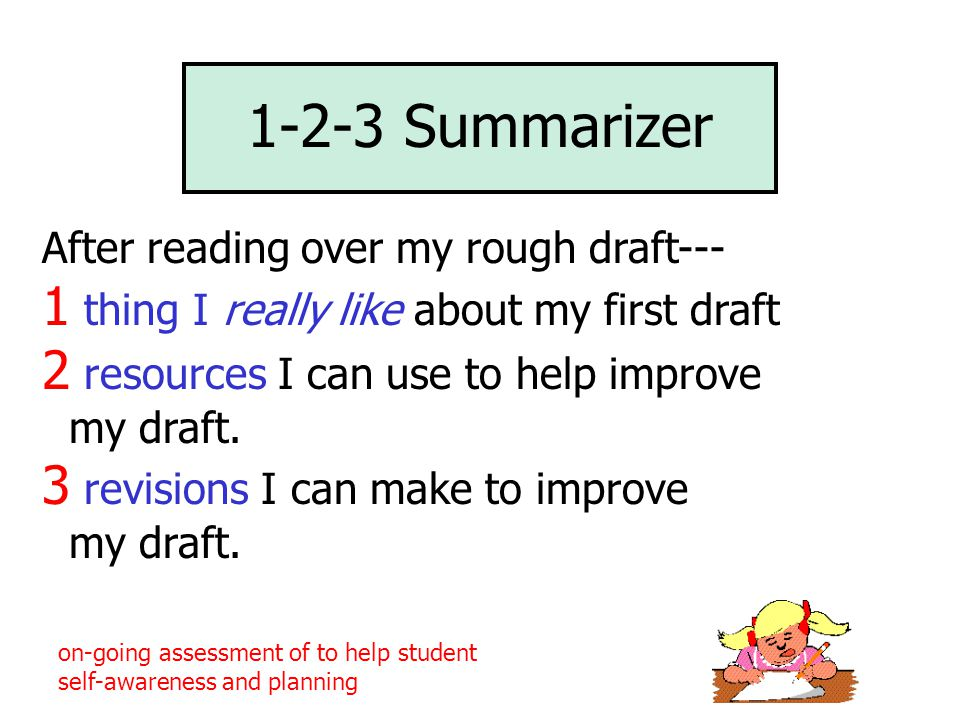1-2-3 Summarizer After reading over my rough draft--- 1 thing I really like about my first draft 2 resources I can use to help improve my draft. 3 rev