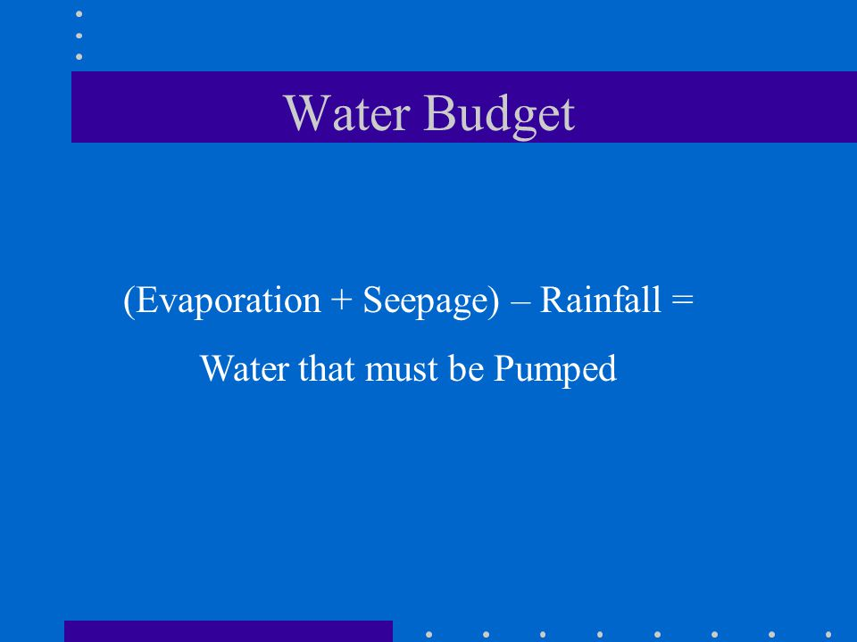 Water Budget (Evaporation + Seepage) – Rainfall = Water that must be Pumped