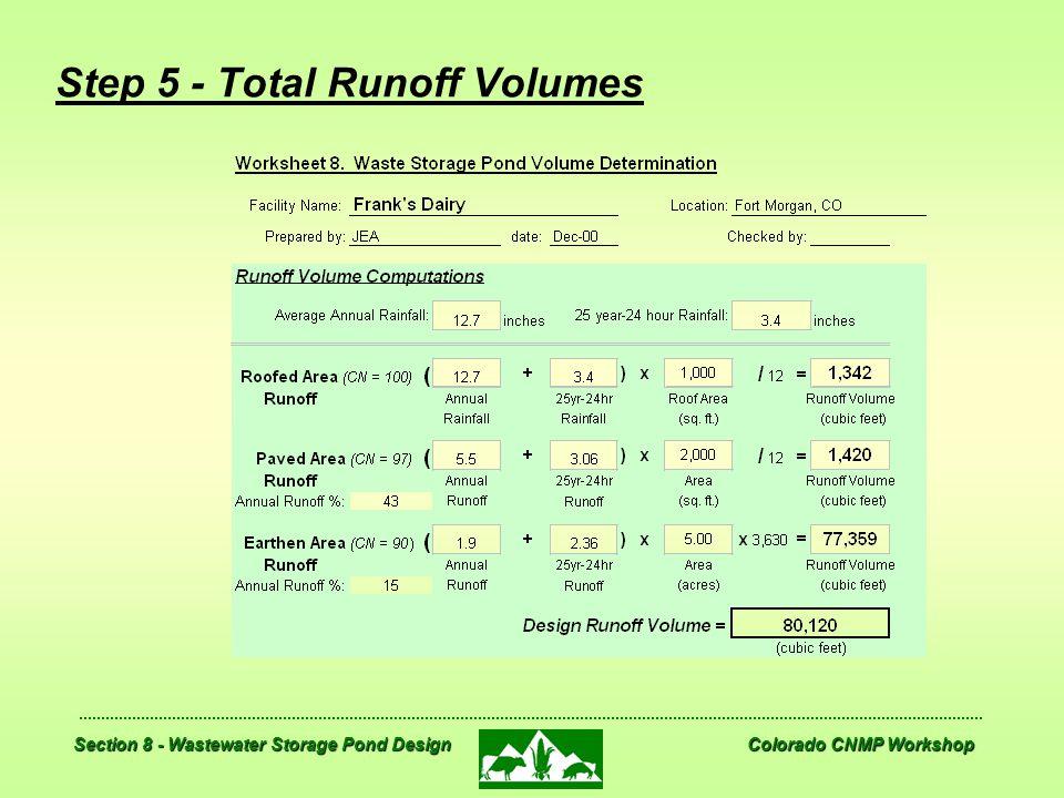Section 8 - Wastewater Storage Pond Design Colorado CNMP Workshop Step 5 - Total Runoff Volumes