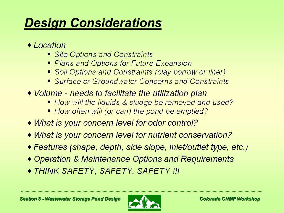 Section 8 - Wastewater Storage Pond Design Colorado CNMP Workshop Design Considerations