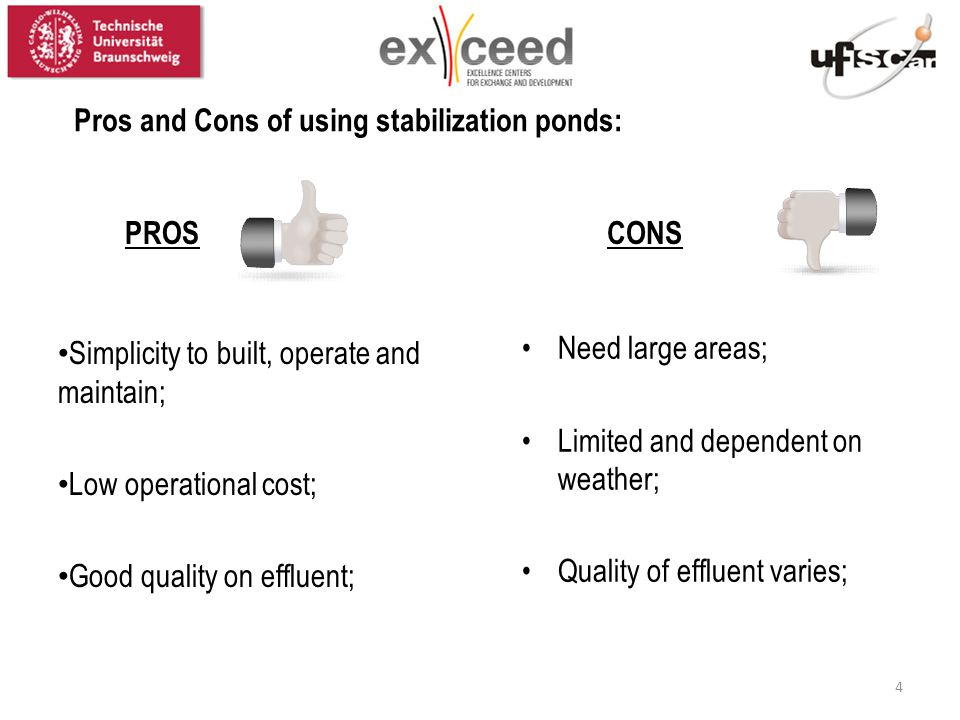 Pros and Cons of using stabilization ponds: Simplicity to built, operate and maintain; Low operational cost; Good quality on effluent; Need large areas; Limited and dependent on weather; Quality of effluent varies; PROSCONS 4