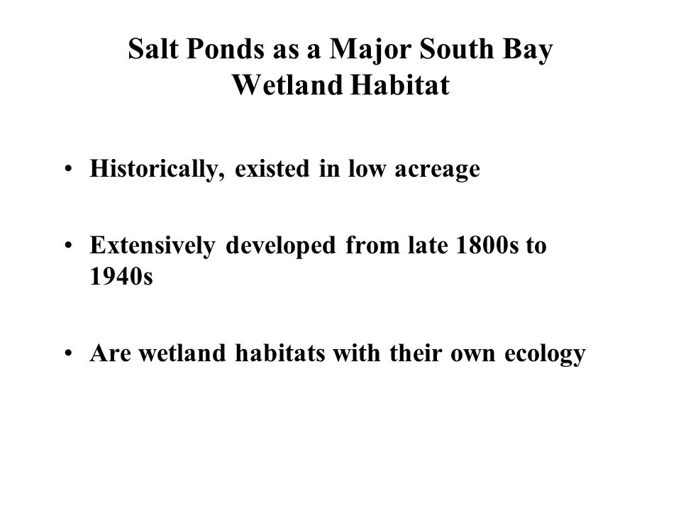 Salt Ponds as a Major South Bay Wetland Habitat Historically, existed in low acreage Extensively developed from late 1800s to 1940s Are wetland habitats with their own ecology
