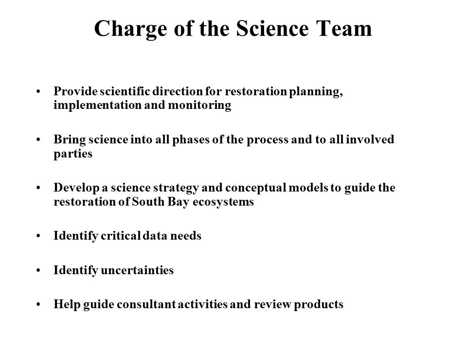 Charge of the Science Team Provide scientific direction for restoration planning, implementation and monitoring Bring science into all phases of the process and to all involved parties Develop a science strategy and conceptual models to guide the restoration of South Bay ecosystems Identify critical data needs Identify uncertainties Help guide consultant activities and review products