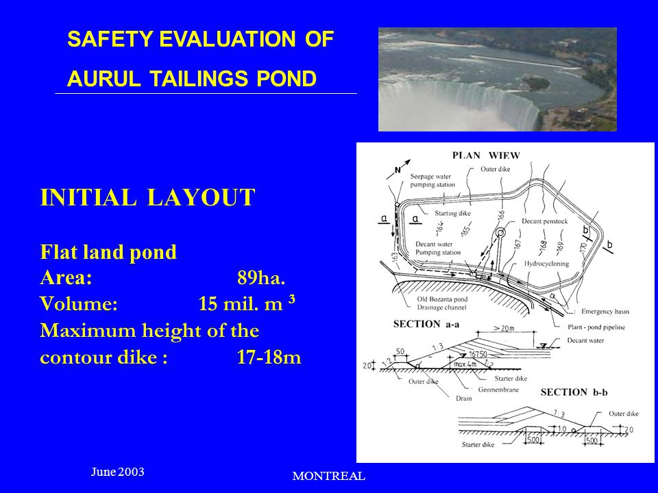 SAFETY EVALUATION OF AURUL TAILINGS POND June 2003 MONTREAL Aerial view of the pond before the technical accident