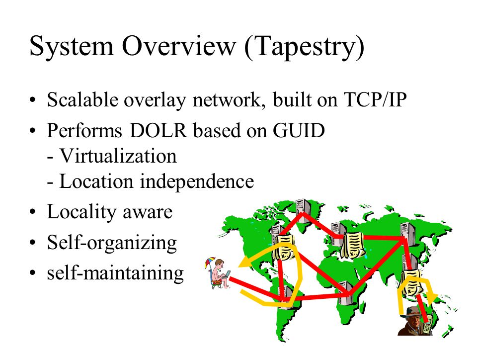 System Overview (Tapestry) Scalable overlay network, built on TCP/IP Performs DOLR based on GUID - Virtualization - Location independence Locality awa