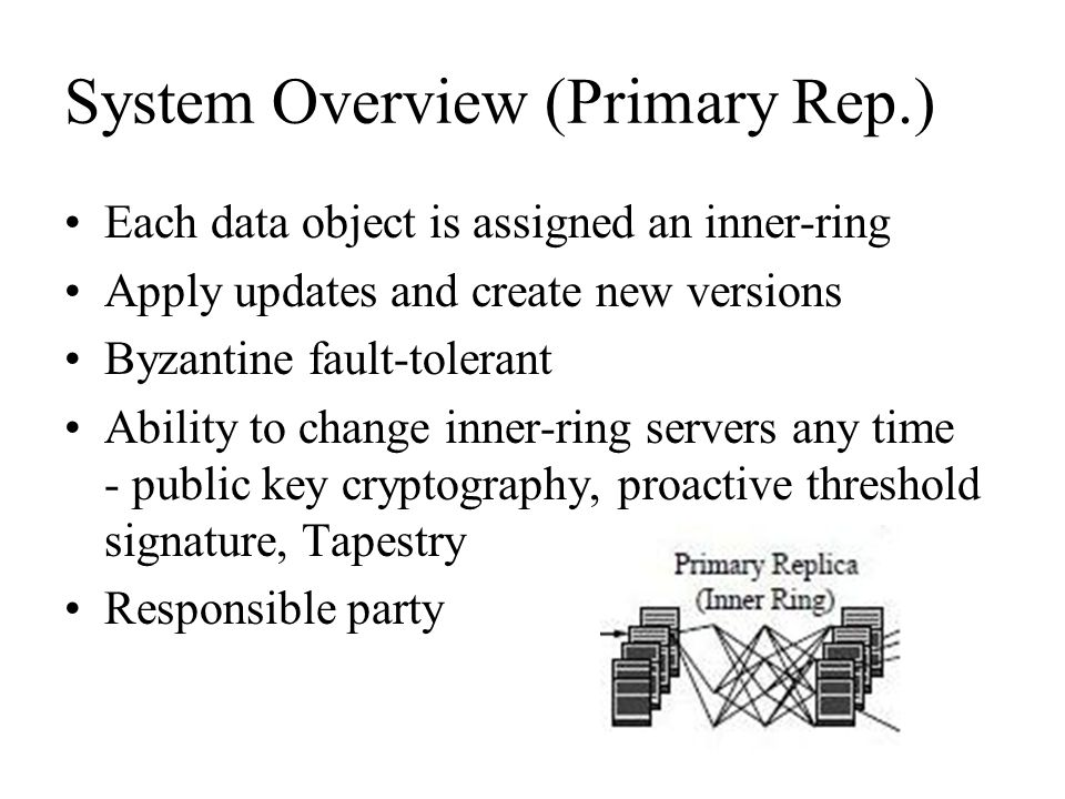 System Overview (Primary Rep.) Each data object is assigned an inner-ring Apply updates and create new versions Byzantine fault-tolerant Ability to ch