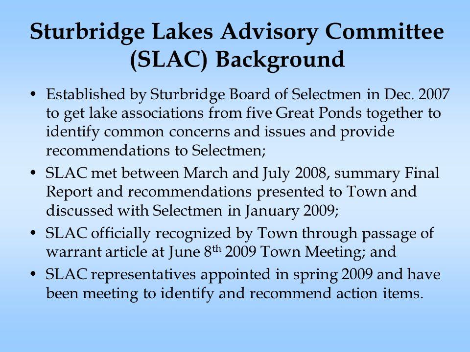 Sturbridge Lakes Advisory Committee (SLAC) Background Established by Sturbridge Board of Selectmen in Dec.