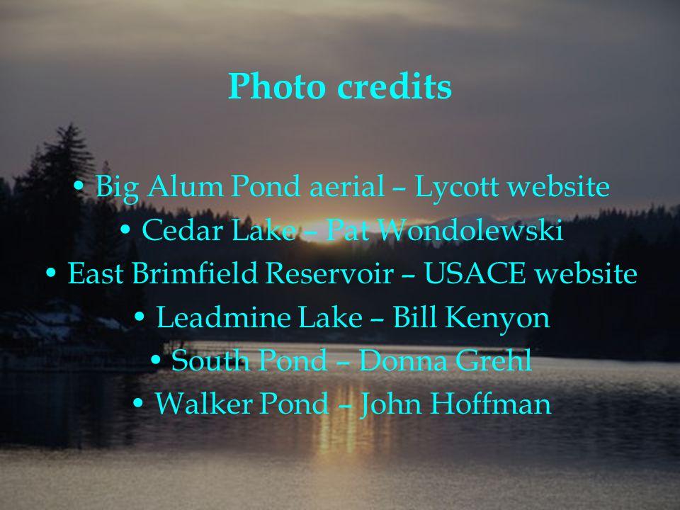 Photo credits Big Alum Pond aerial – Lycott website Cedar Lake – Pat Wondolewski East Brimfield Reservoir – USACE website Leadmine Lake – Bill Kenyon South Pond – Donna Grehl Walker Pond – John Hoffman