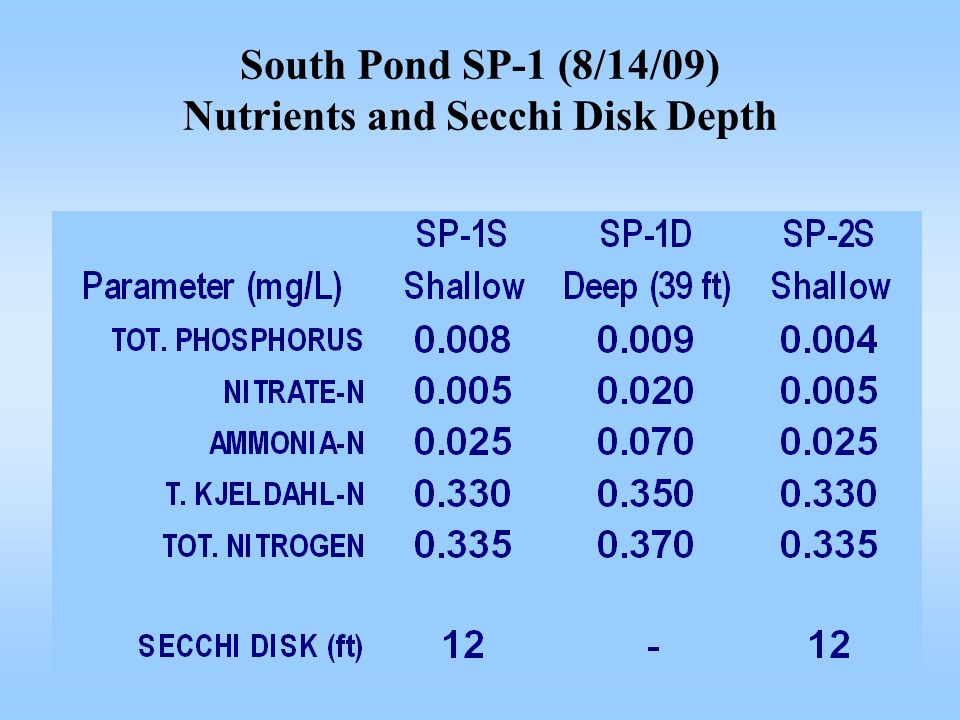 South Pond SP-1 (8/14/09) Nutrients and Secchi Disk Depth