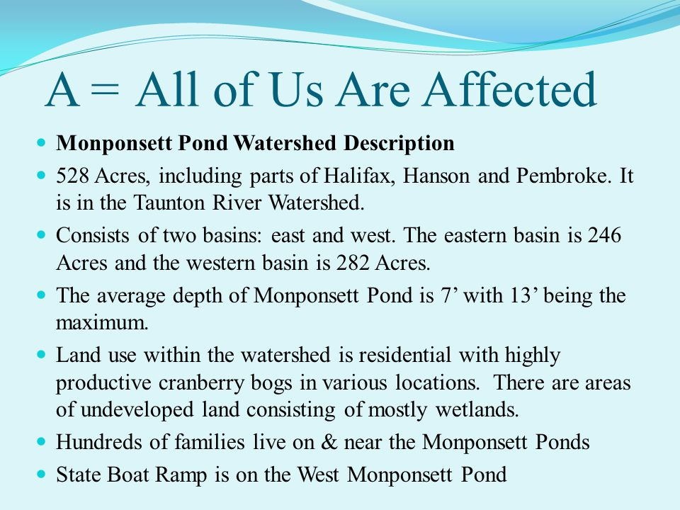 A = All of Us Are Affected Monponsett Pond Watershed Description 528 Acres, including parts of Halifax, Hanson and Pembroke.