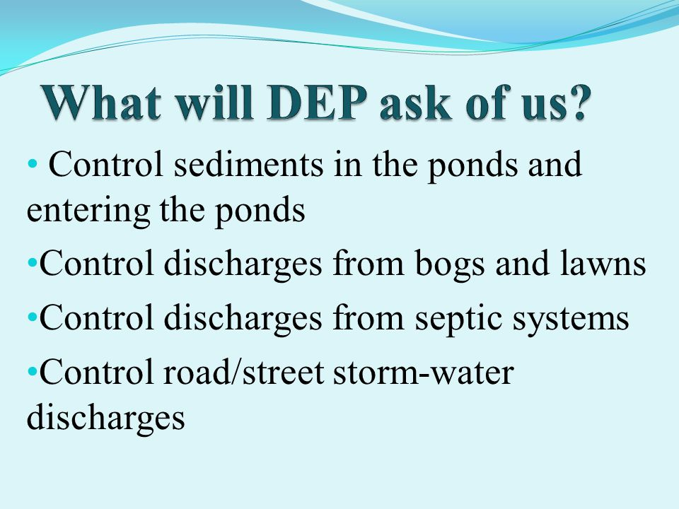 Control sediments in the ponds and entering the ponds Control discharges from bogs and lawns Control discharges from septic systems Control road/street storm-water discharges