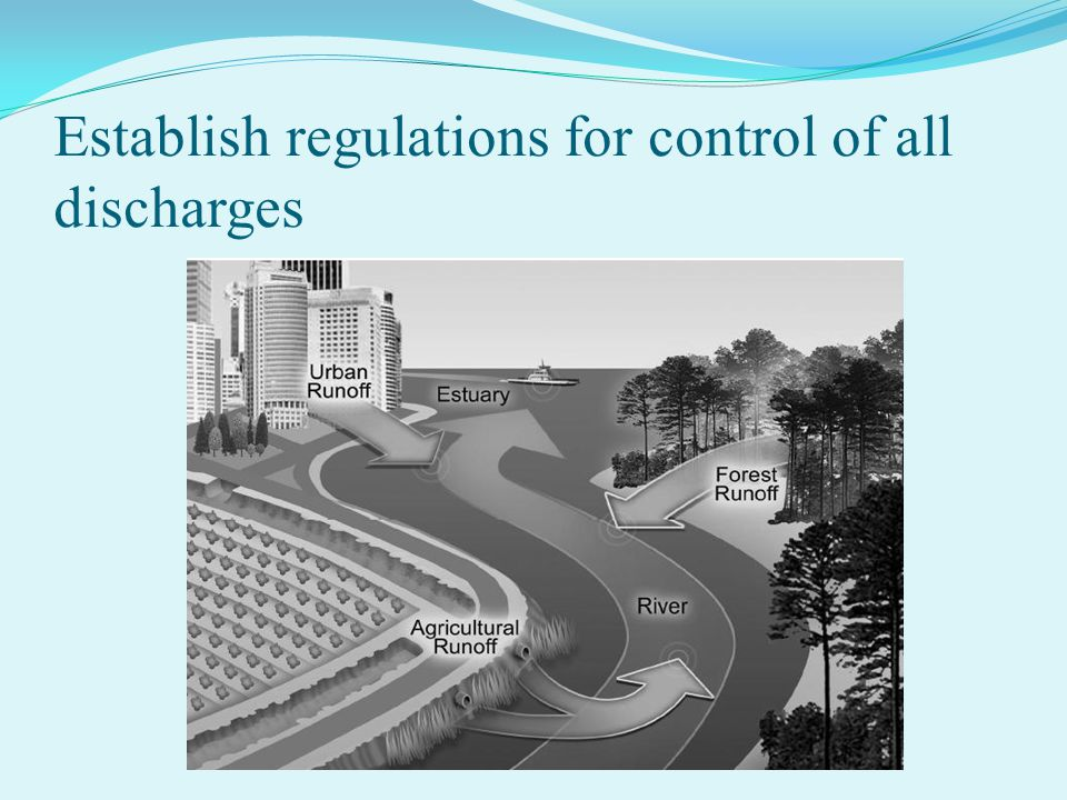 Establish regulations for control of all discharges