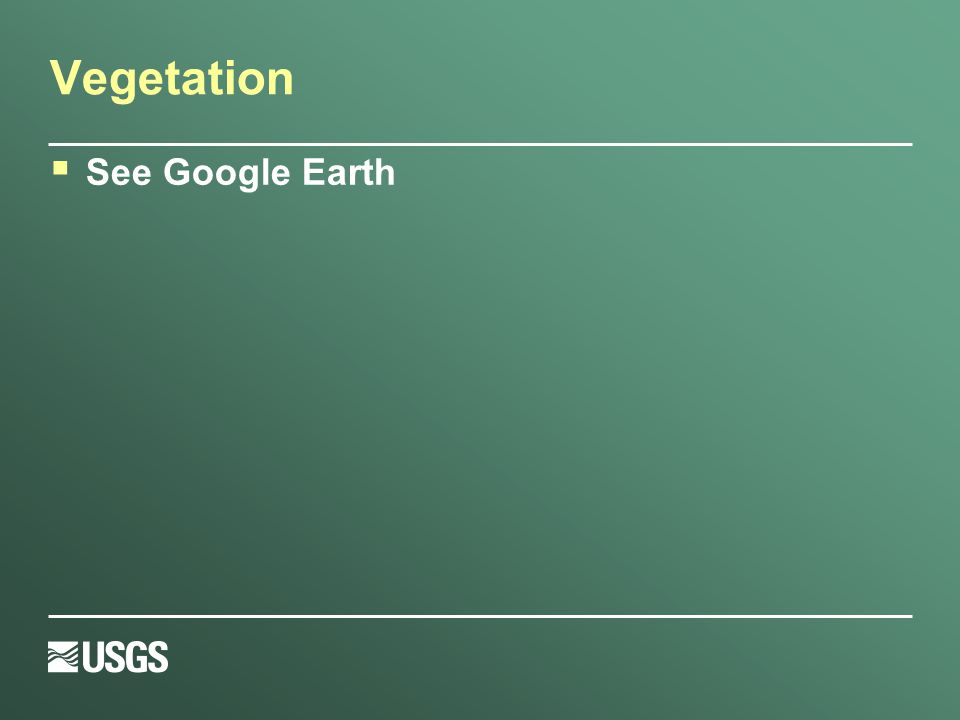 Vegetation  See Google Earth
