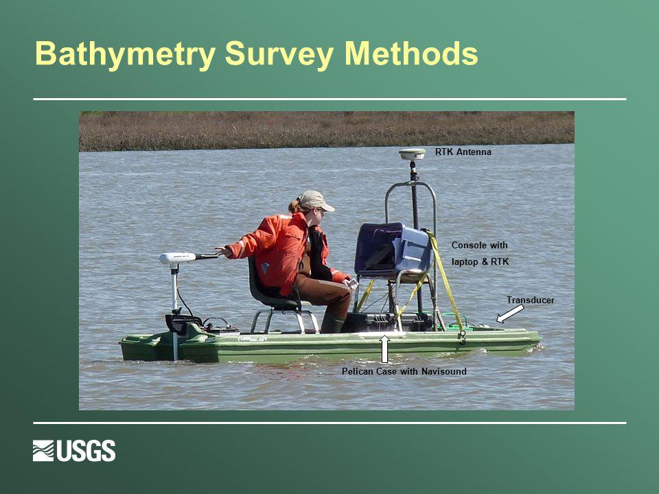 Bathymetry Survey Methods Pelican Case with Navisound RTK Antenna Console with laptop & RTK Transducer