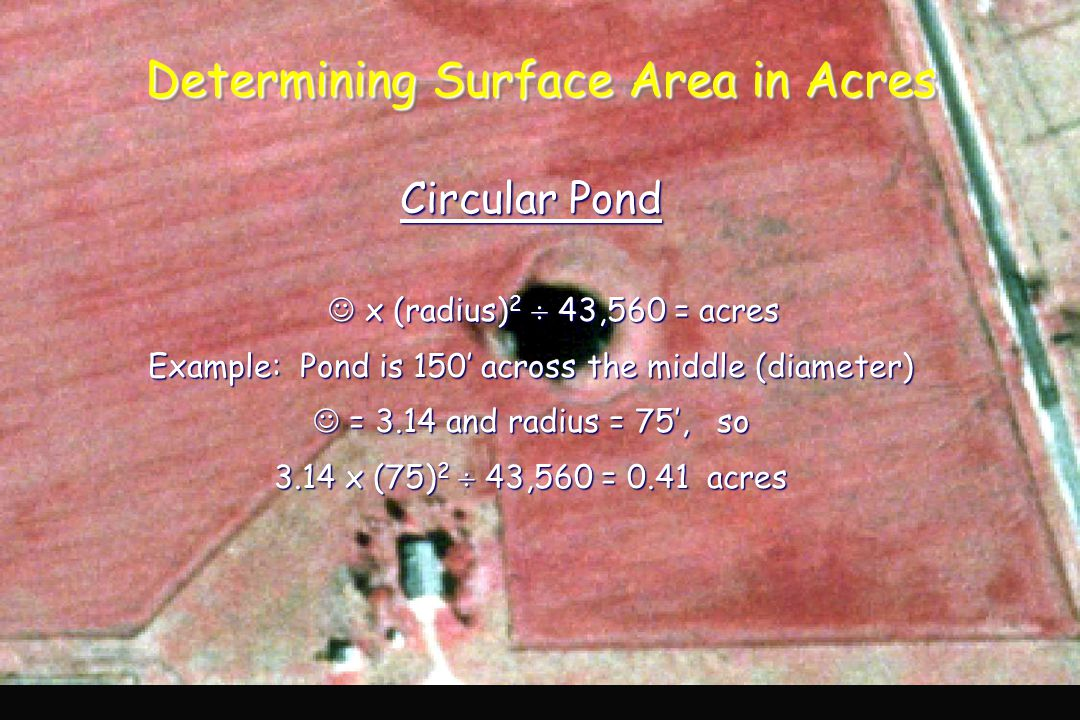 Determining Surface Area in Acres Circular Pond x (radius) 2  43,560 = acres Example: Pond is 150' across the middle (diameter) = 3.14 and radius = 75', so = 3.14 and radius = 75', so 3.14 x (75) 2  43,560 = 0.41 acres