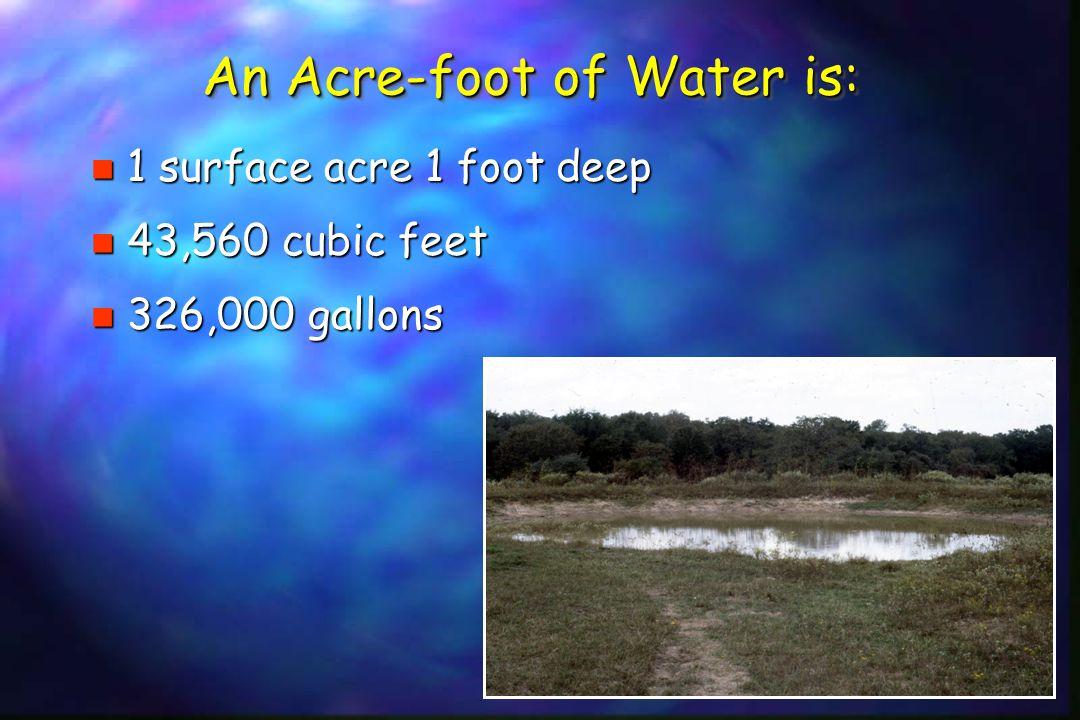 An Acre-foot of Water is: n 1 surface acre 1 foot deep n 43,560 cubic feet n 326,000 gallons