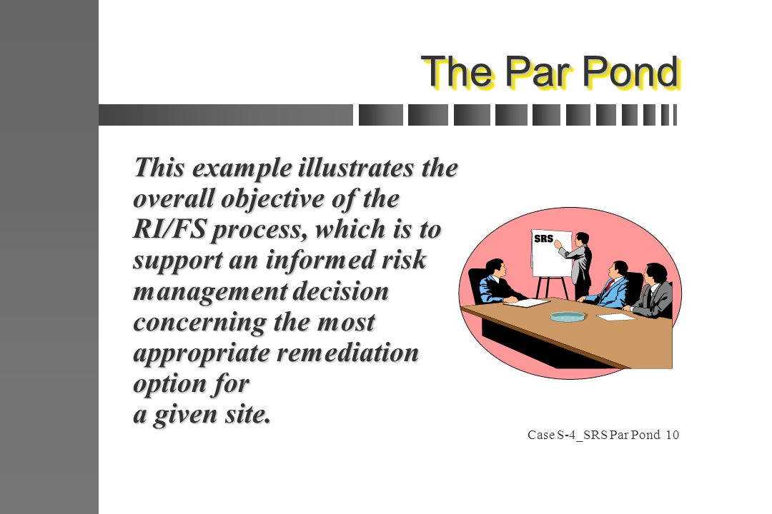 Case S-4_SRS Par Pond10 The Par Pond This example illustrates the overall objective of the RI/FS process, which is to support an informed risk management decision concerning the most appropriate remediation option for a given site.