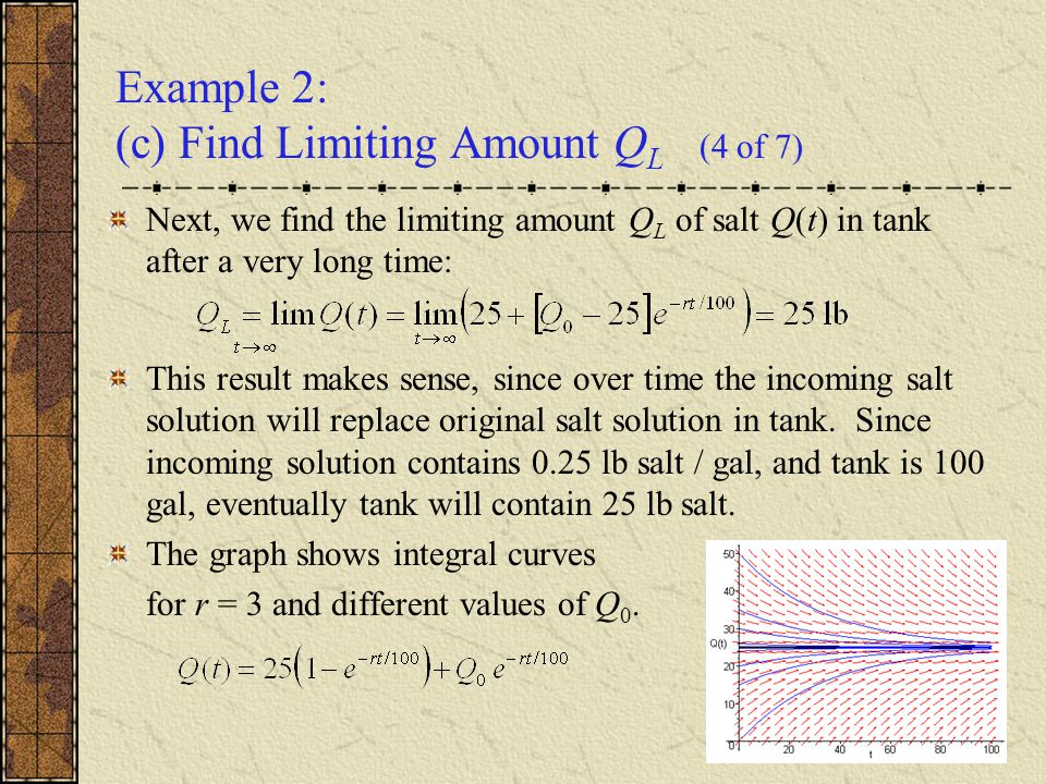 Example 2: (c) Find Limiting Amount Q L (4 of 7) Next, we find the limiting amount Q L of salt Q(t) in tank after a very long time: This result makes