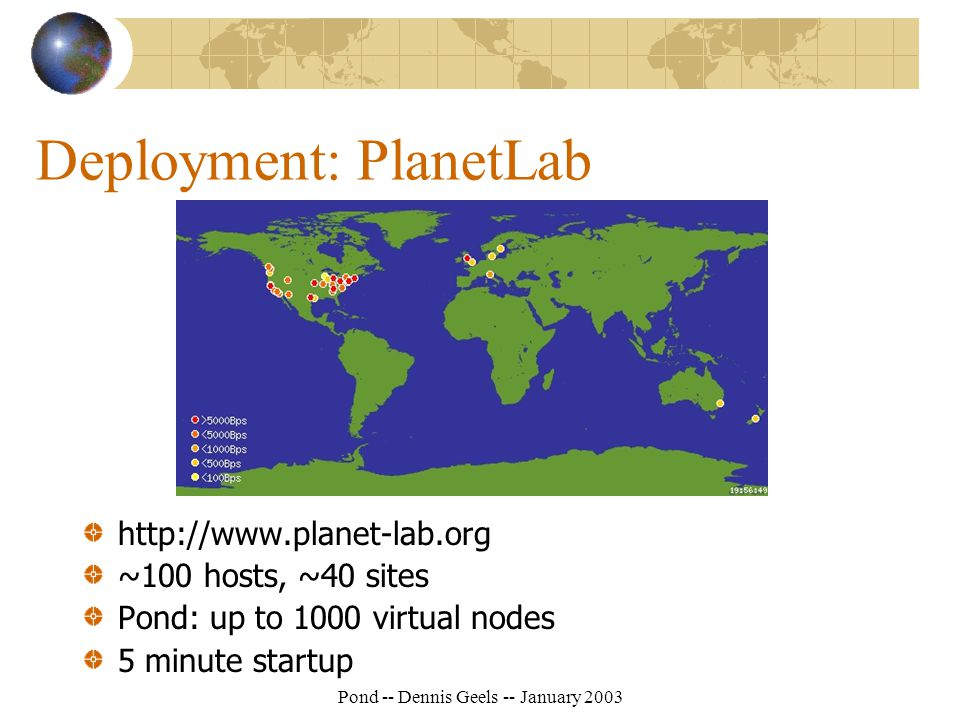 Pond -- Dennis Geels -- January 2003 Deployment: PlanetLab http://www.planet-lab.org ~100 hosts, ~40 sites Pond: up to 1000 virtual nodes 5 minute startup