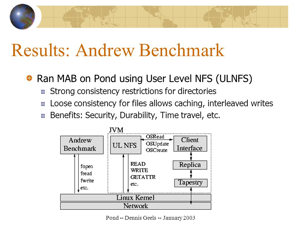 Pond -- Dennis Geels -- January 2003 Results: Andrew Benchmark Ran MAB on Pond using User Level NFS (ULNFS) Strong consistency restrictions for directories Loose consistency for files allows caching, interleaved writes Benefits: Security, Durability, Time travel, etc.