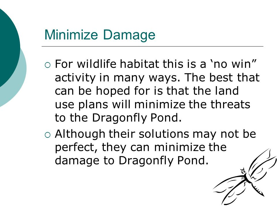 Minimize Damage  For wildlife habitat this is a 'no win activity in many ways.