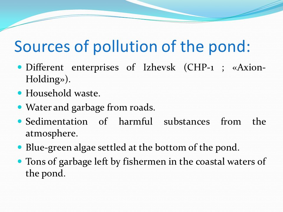 Sources of pollution of the pond: Different enterprises of Izhevsk (CHP-1 ; «Axion- Holding»).