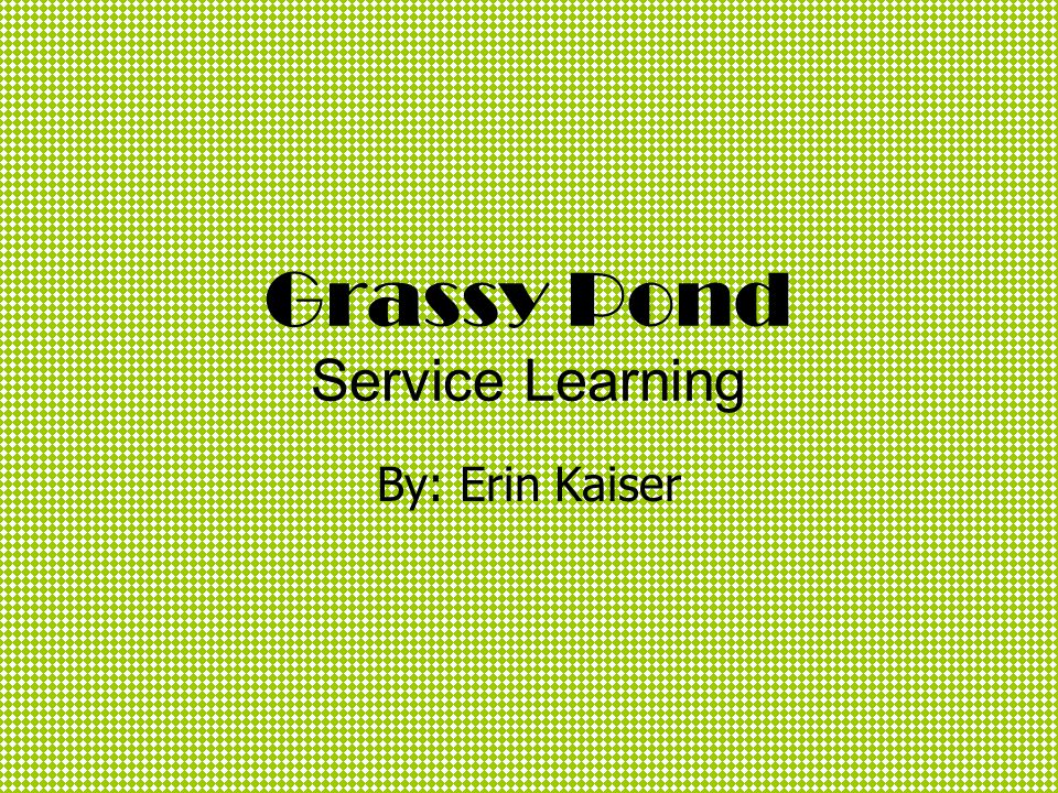 Grassy Pond Service Learning By: Erin Kaiser