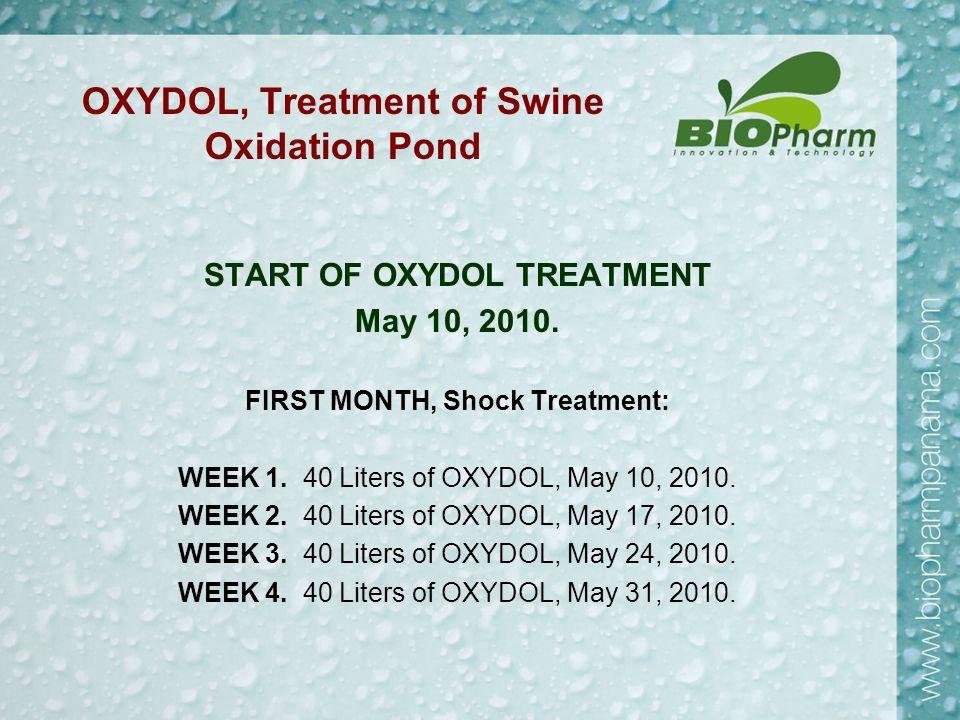 OXYDOL, Treatment of Swine Oxidation Pond START OF OXYDOL TREATMENT May 10, 2010.