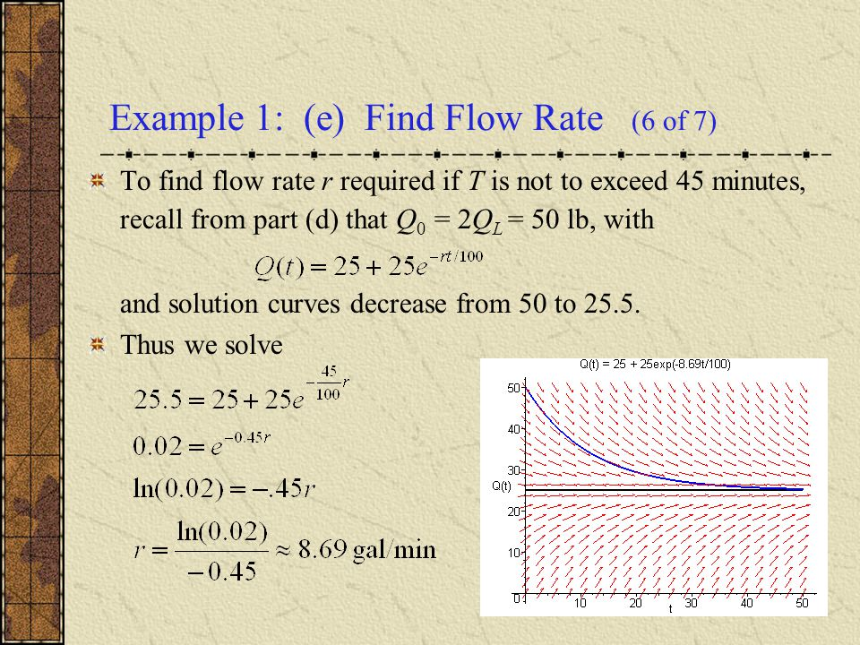 Example 1: (e) Find Flow Rate (6 of 7) To find flow rate r required if T is not to exceed 45 minutes, recall from part (d) that Q 0 = 2Q L = 50 lb, wi